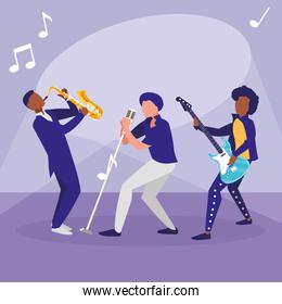 singer and musicians band characters