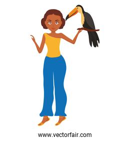 beautiful woman with toucan character