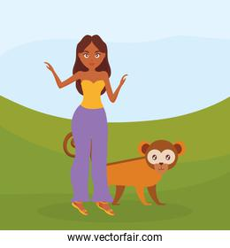 beautiful woman with exotic monkey character