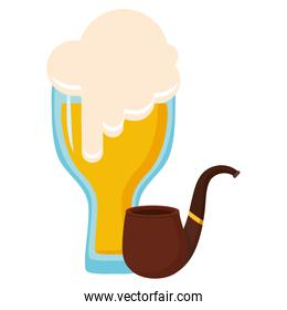 beer glass with pipe wooden
