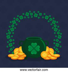 st patricks day card with cauldron and coins