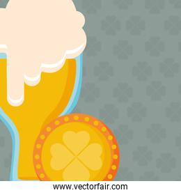 beer glass with clover coin
