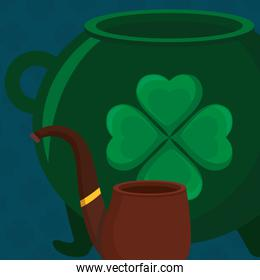 st patricks day card with cauldron and pipe wooden