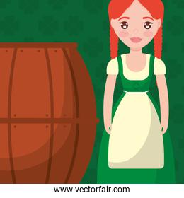 beer wooden barrel with ireland woman
