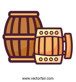 beer wooden jar and barrel with clover
