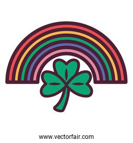 cute rainbow weather with clover icon
