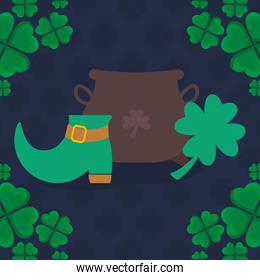 st patricks day cauldron with clover and boots