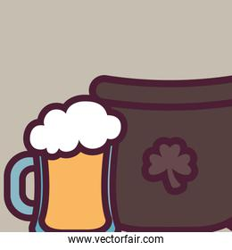 st patricks day card with cauldron and beer jar