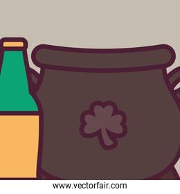 st patricks day cauldron with bottle beer
