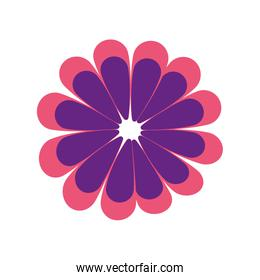 Flat blue flower vector icon
