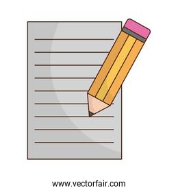 pencil with paper document isolated icon