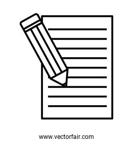 pencil with document line style icon