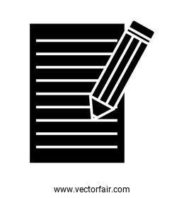 pencil and document silhouette style icon