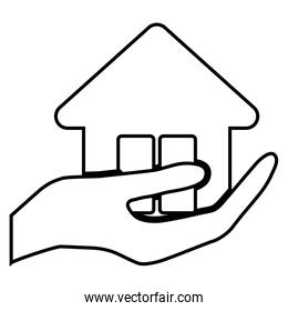 hand holding a house icon