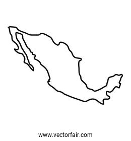 mexico country map linear icon