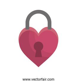 padlock in heart shape icon isolated