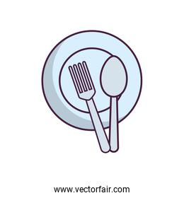 dish with fork and spoon icon