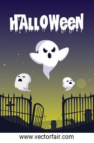 halloween card with ghost characters