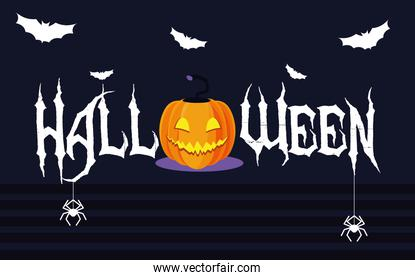 halloween card with pumpkin character
