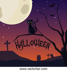 halloween card with night cemetery scene