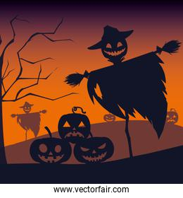 halloween card with scarecrow character