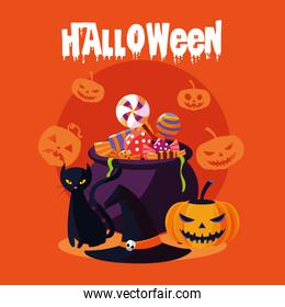 halloween card with witch cauldron