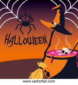 halloween poster with spider and decoration