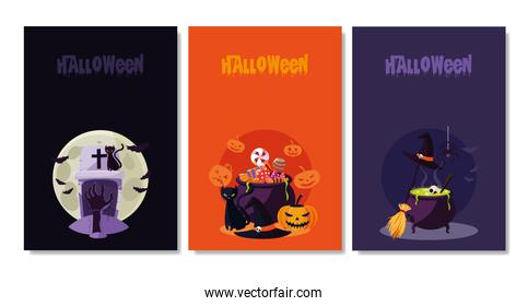 halloween card with set characters