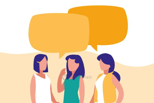 group of women talking characters