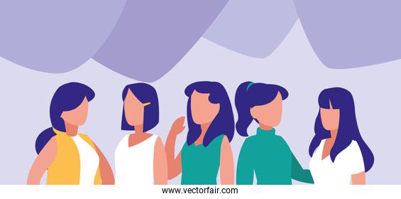 group of women posing characters