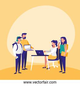 group of people with technology