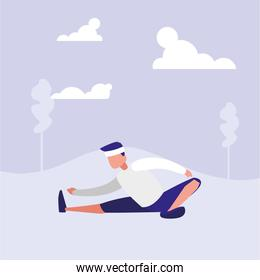 man practicing stretching in landscape