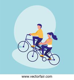 couple practicing cycling avatar character