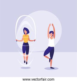 couple practicing exercise avatar character