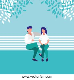 couple sitting park chair avatar character