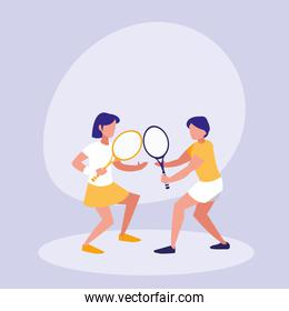 couple practicing tennis avatar character