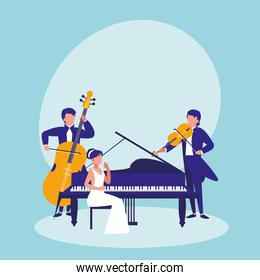 group of people playing instruments musical