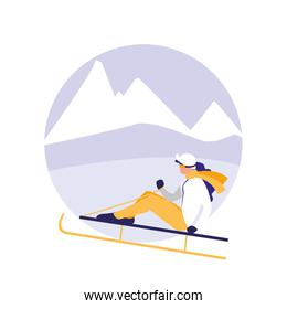 woman practicing skiing on ice avatar character