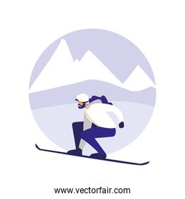 man practicing skiing on ice avatar character
