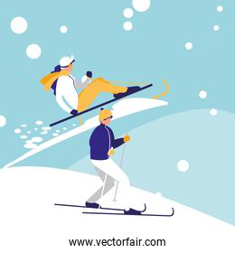couple practicing skiing on ice avatar character