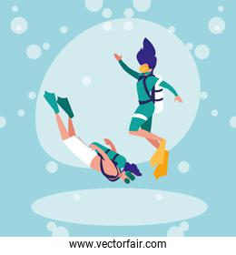 couple practicing diving avatar character