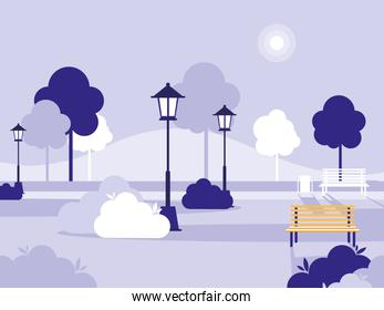 park with chairs and lamps