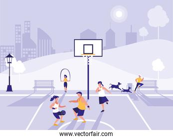 people practicing sport in basketball field