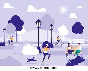 people in park with chairs and lamps