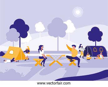 people in park with tents designs