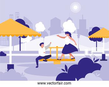couple in park with playground isolated icon