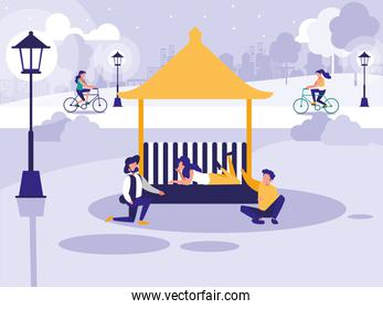 people in park with kiosk isolated icon