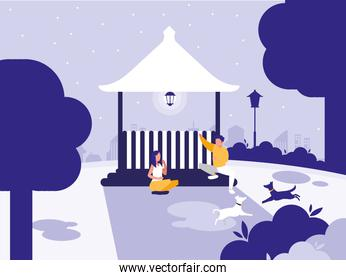couple in park with kiosk isolated icon