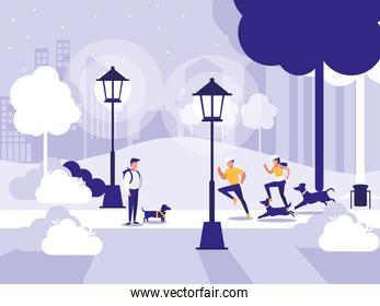 people in park with lamps isolated icon