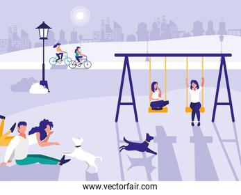 people in park with playground isolated icon